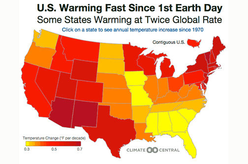 Climate Change By State An Interactive Map Of The US Saloncom - Color temperature us voting map