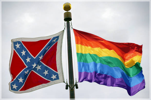 same sex marriage flag and confederate flag in Ottawa