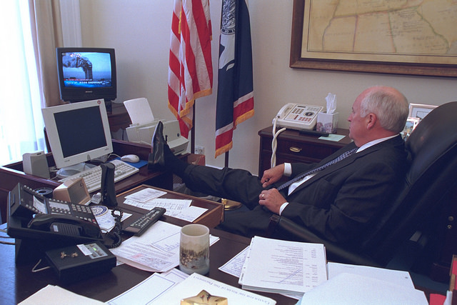 """""""Dick Cheney watches television"""": The four previously unseen 9/11 photos that will make you hate the evil VP all over again"""