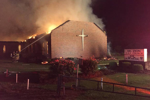 Fire at the Mt. Zion African Methodist Episcopal Church