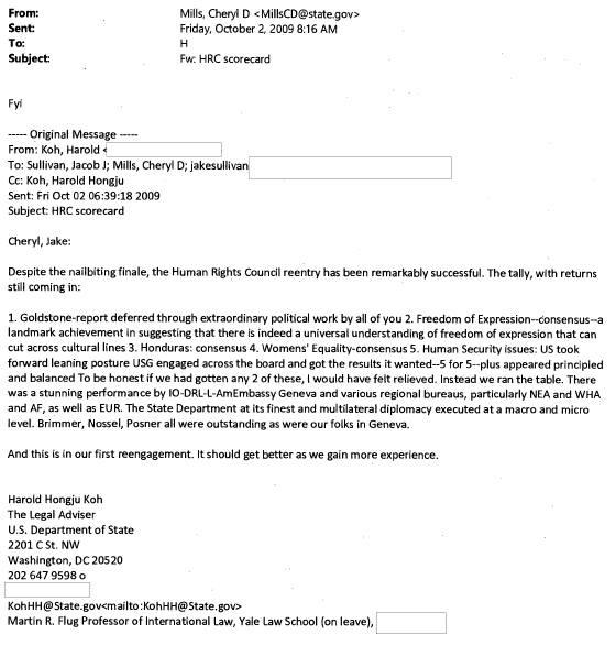 hillary email harold koh goldstone