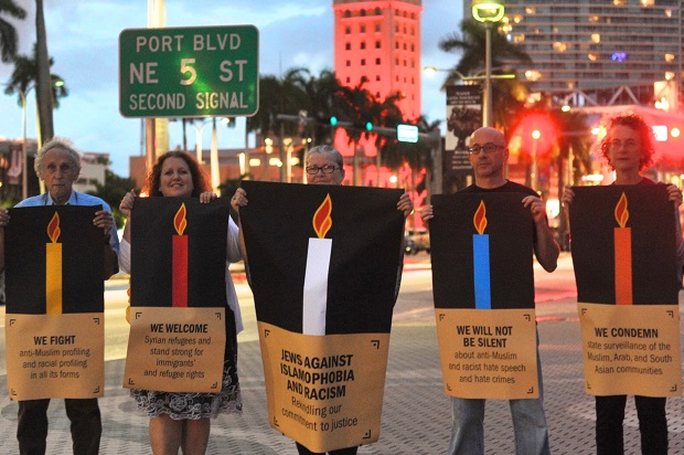 JVP protesters on the third night of Hanukkah in Miami (Credit: JVP)