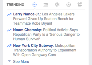 A screenshot of Chomsky trending on Facebook on Jan. 27