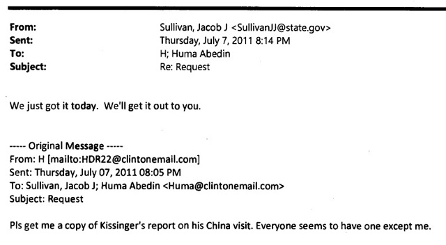 An email in which Clinton requests a report by Kissinger