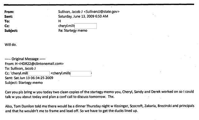 A June 2013 email in which Clinton mentions an upcoming dinner with Kissiner