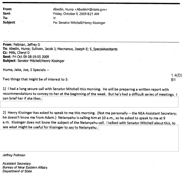 A Clinton email discussing a phone call between Kissinger and Netanyahu