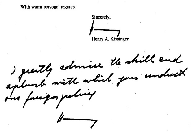 A scanned copy of Kissinger's printed message to Clinton