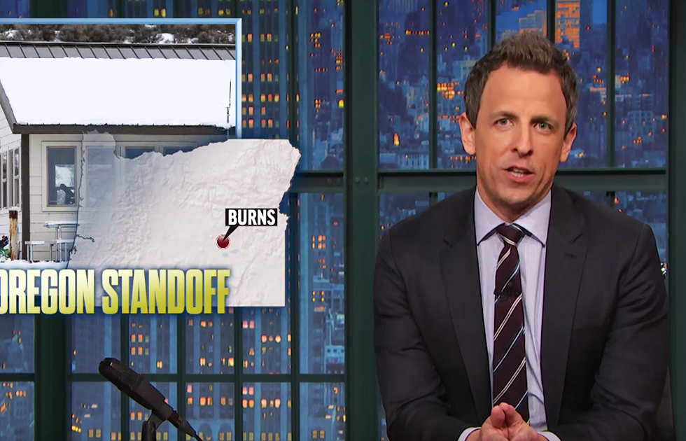 """There's a dude under a tarp, sitting in a rocking chair, holding a rifle"": Seth Meyers on the weirdest part of the Oregon standoff"