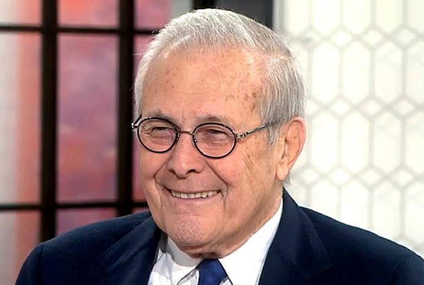 "Donald Rumsfeld justifies voting for Trump with same ""logic"" he used ..."