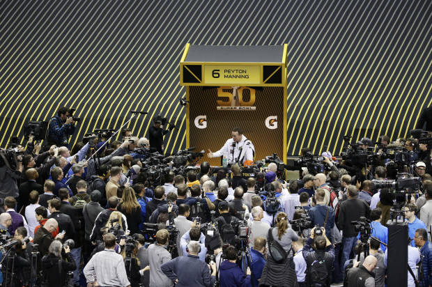 Panthers, Broncos meet reporters at Super Bowl media circus