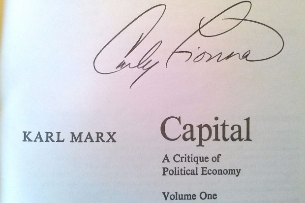 "(A photo of Marx's ""Capital,"" signed by Fiorina)"