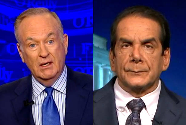 "Charles Krauthammer ridicules Bill O'Reilly for using ""weaselly words"" to defend Trump's violent rhetoric"