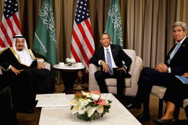 Obama concludes a meeting with Saudi Arabia's King Salman at the G20 summit at the Regnum Carya Resort in Antalya, Turkey