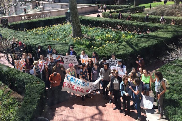 Columbia students rally outside in support of the sit-in (Credit: Columbia Divest for Climate Justice)