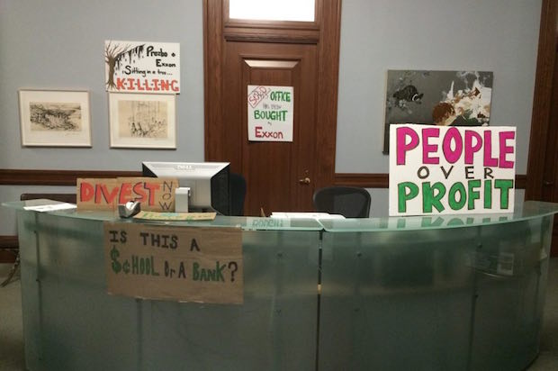A photo from inside the sit-in protest (Credit: Columbia Divest for Climate Justice)