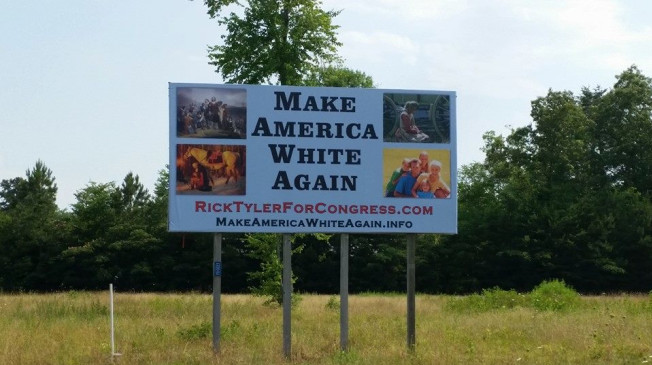 Outrage over candidate's 'Make America White Again' sign