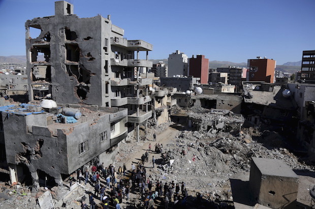 Buildings, which were damaged during the security operations and clashes between Turkish security forces and Kurdish militants, are seen in the southeastern town of Cizre in Sirnak province
