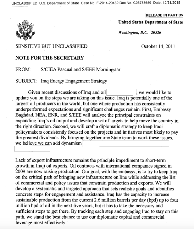 clinton email iraq energy