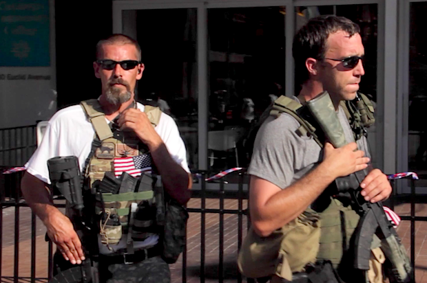 Who are the guys marching outside the RNC with assault