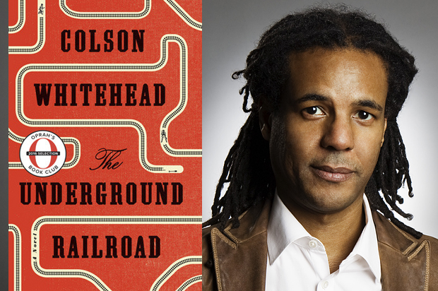Photo of author Colson Whitehead and his book, The Underground Railroad.