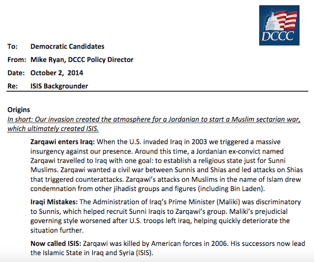 (Part of the alleged DCCC memo on ISIS)