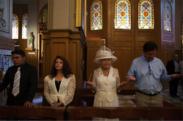 Samantha is accompanied to her baptism by close friends and her godfather at the 'Sagrada Familia church' in Mexico City. Pictured here (from left to right): Abril Campillo's son, Abril Campillo, Samantha Flores and Jorge de La Rosa.