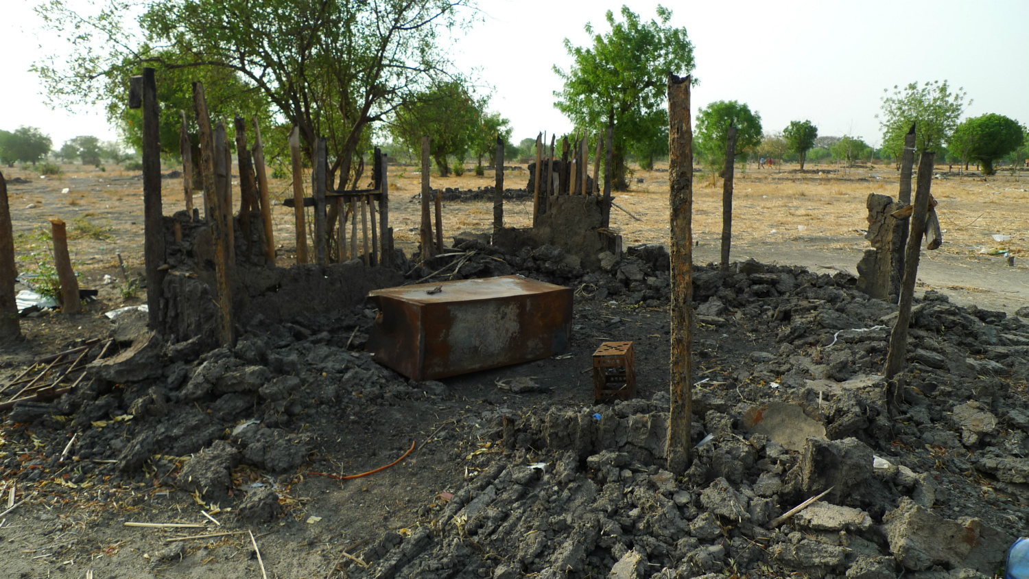 The ruins of Leer, South Sudan. The town was repeatedly attacked by militias allied to the national government during 2015.