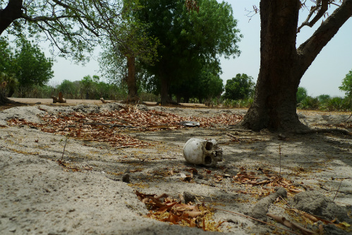 The remains of one of the many victims of violence in Leer, South Sudan.  The town has been repeatedly razed over the years and civilians have been mercilessly attacked.  No one has ever been held accountable for the atrocities.