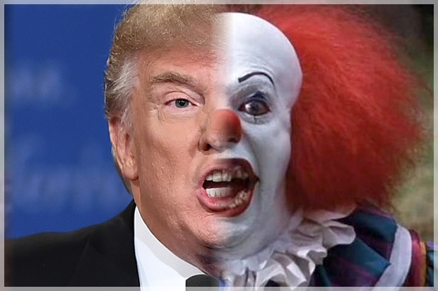 """Donald Trump; Pennywise from """"It"""" (Credit: Getty/Jewel Samad/Warner ..."""