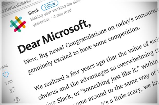 Slackdown! Slack rudely spanks Microsoft as the battle for
