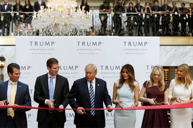 Republican US presidential nominee Trump and members of his family attend official ribbon cutting ceremony in Washington