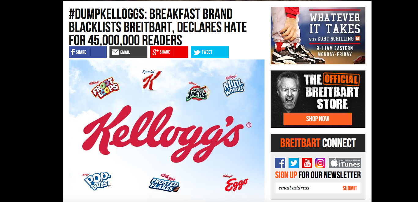 ec34f23f361b Breitbart calls for a boycott of Kellogg's because they don't want to  advertise cereal on a platform for white nationalists