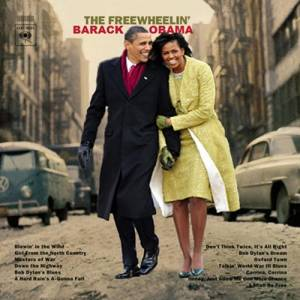 "Fans of former president Barack Obama and Mrs. Obama recreated the ""Freewheelin'"" cover"