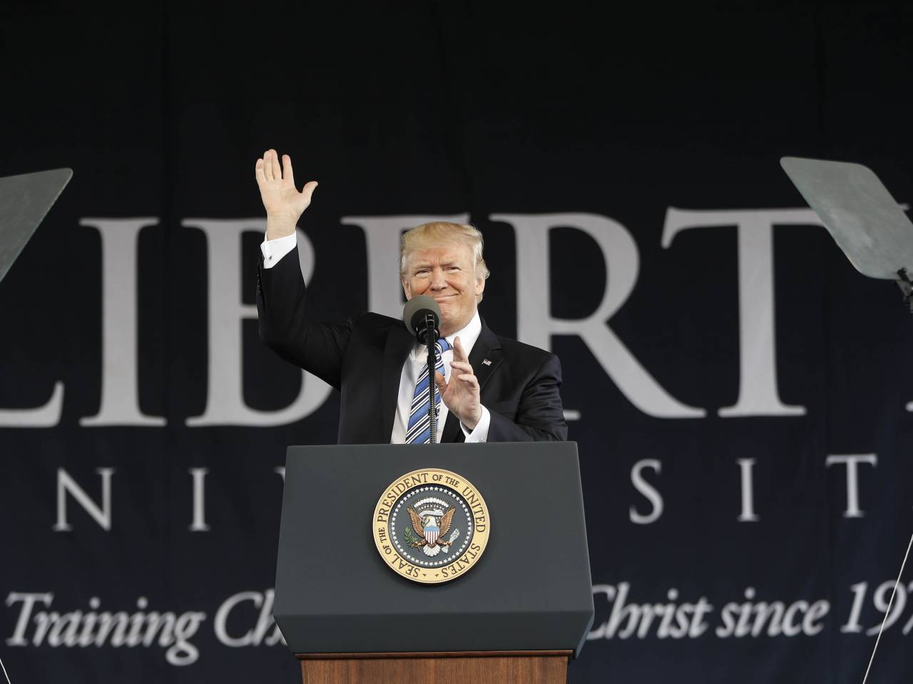 Donald trump delivered his first commencement address as president saturday at in lynchburg virginia before a of 50 000 trump appealed to the graduates