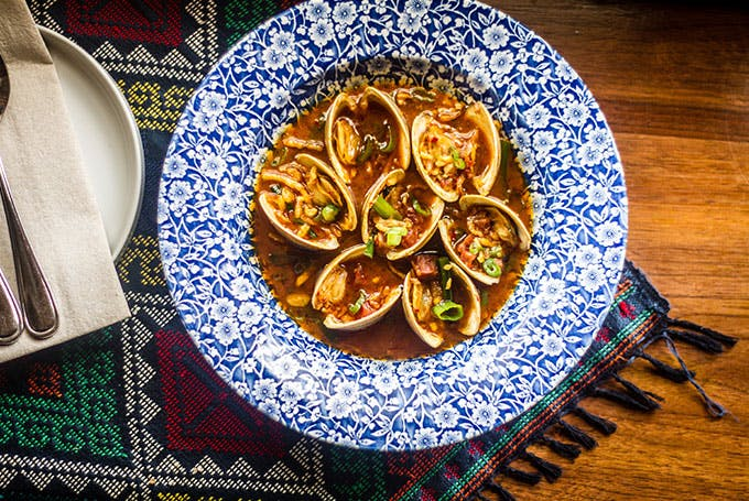 Clams are cooked with Chinese sausage at Bad Saint in Washington D.C. |