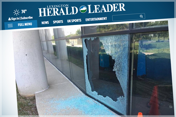 Several windows shattered at Lexington Herald-Leader building