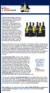Screenshot of Daily Caller wine club email courtesy of Daily Caller