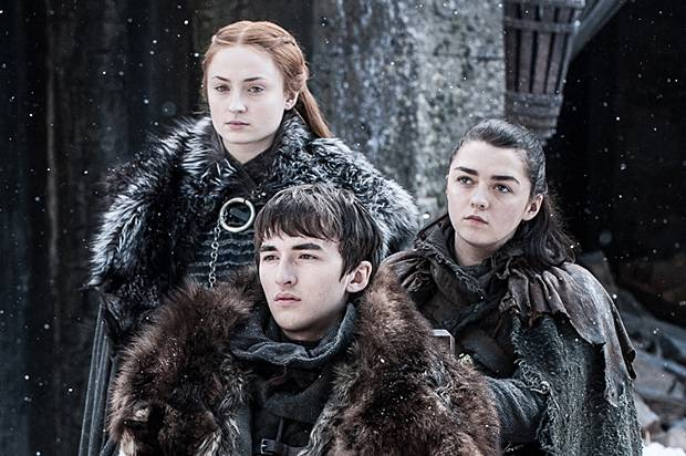 "Sophie Turner, Isaac Hempstead Wright, and Maisie Williams in ""Game of Thrones"""