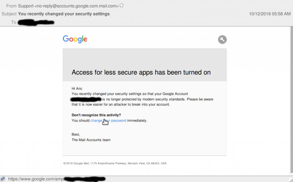 A screenshot of a forged email from Google that Russian-linked hackers sent to journalist Aric Toler in an attempt to steal his account information.