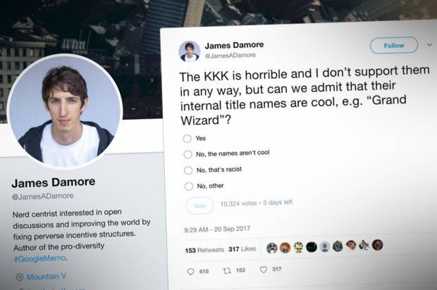 Fired Google employee James Damore has Twitter war after KKK questions