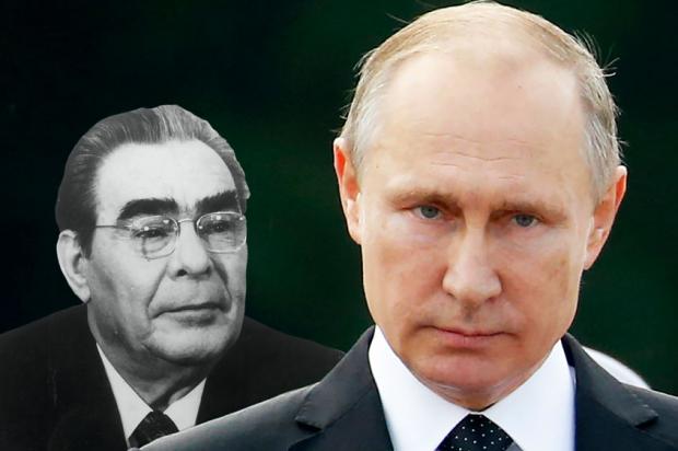 Vladimir Putin and Leonid Brezhnev