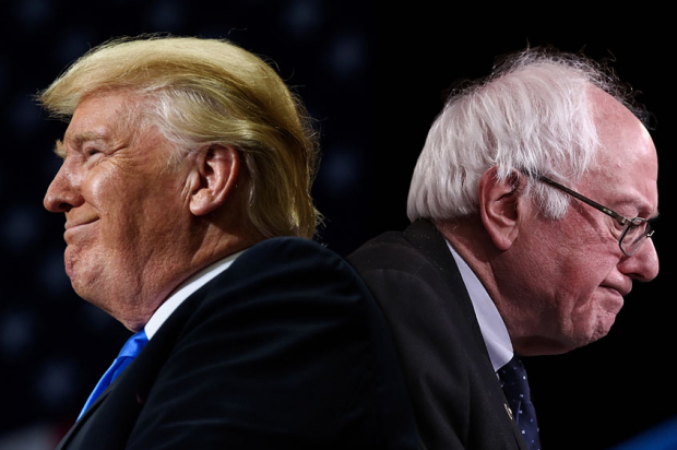 Happy Donald Trump and Sad Bernie Sanders