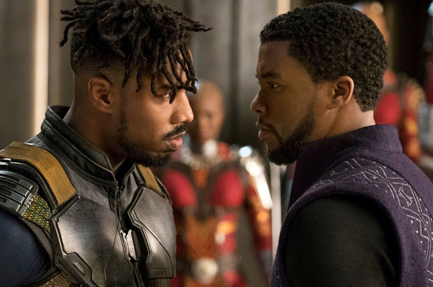 "Michael B. Jordan and Chadwick Boseman in ""Black Panther"""