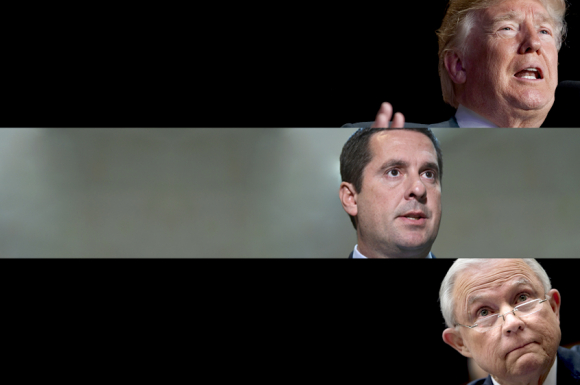 Image result for Donald Trump; Devin Nunes; Jeff Sessions(Credit: AP/Evan Vucci/Susan Walsh/Getty/Brendan Smialowski)