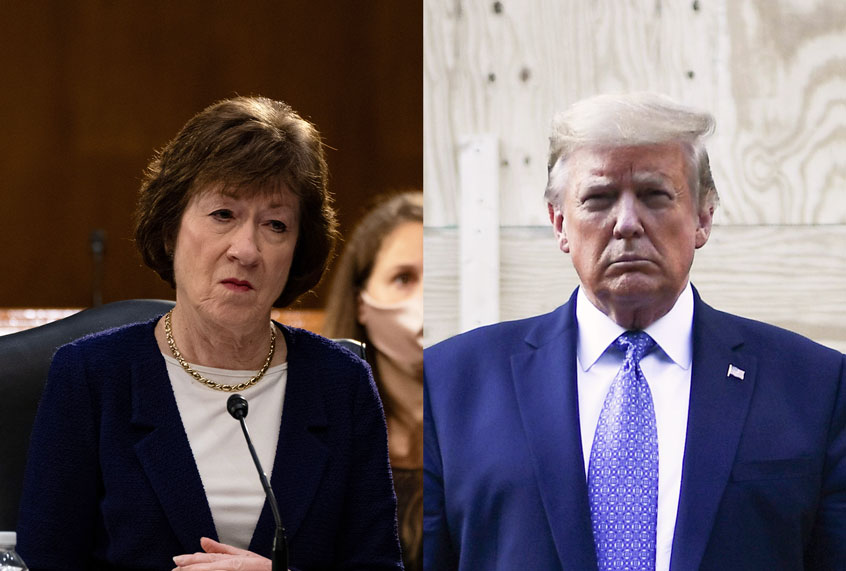 "Susan Collins insists she hasn't ""changed"" after Lincoln Project ad labels her a ""Trump stooge"""