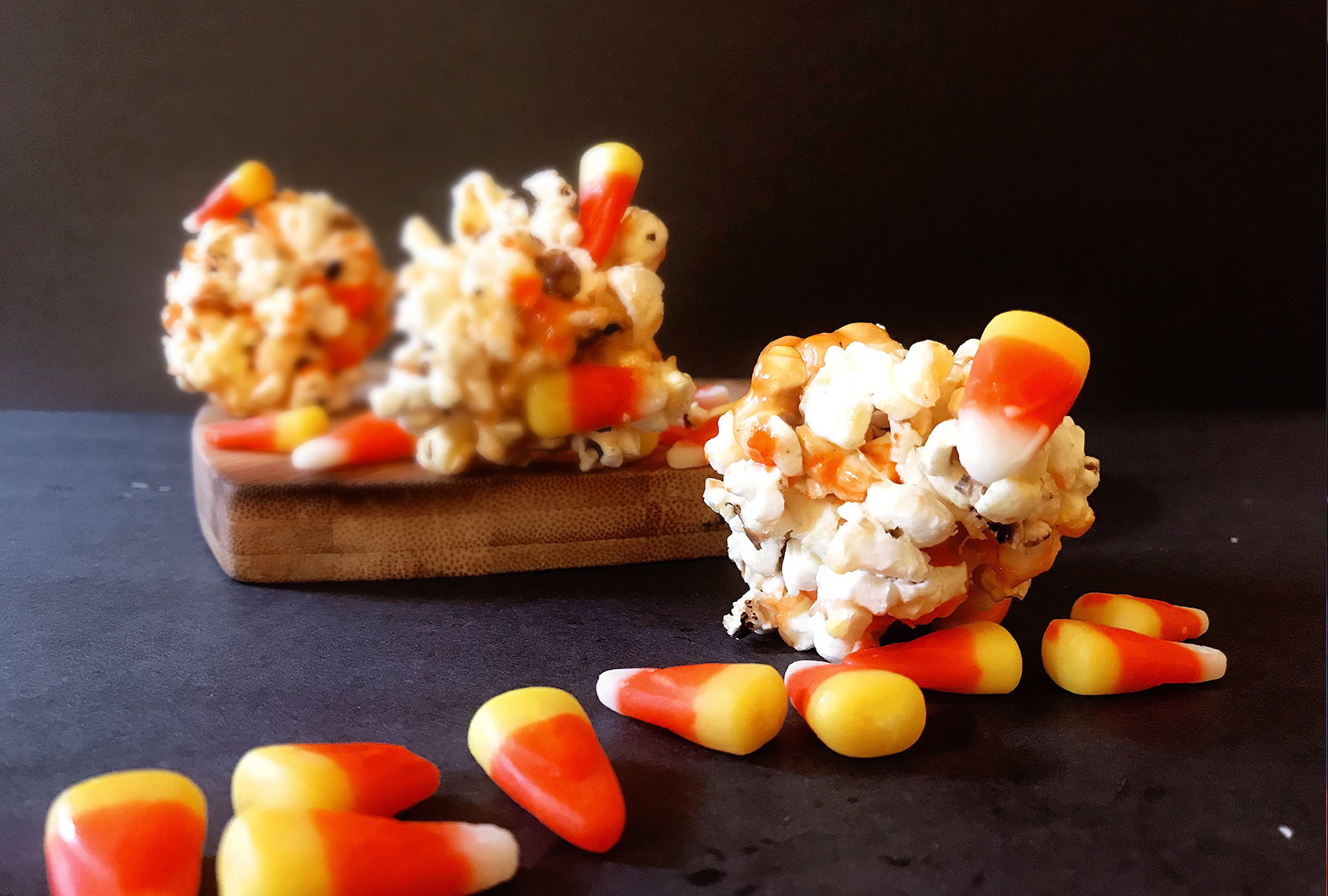 These salty-sweet popcorn balls will convert candy corn haters into true believers