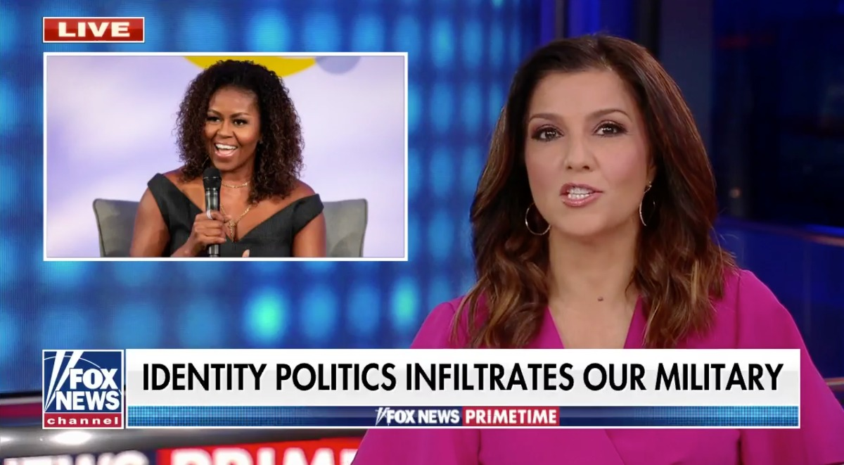 Fox News host suggests Michelle Obama is responsible for identity politics infiltrating the military thumbnail